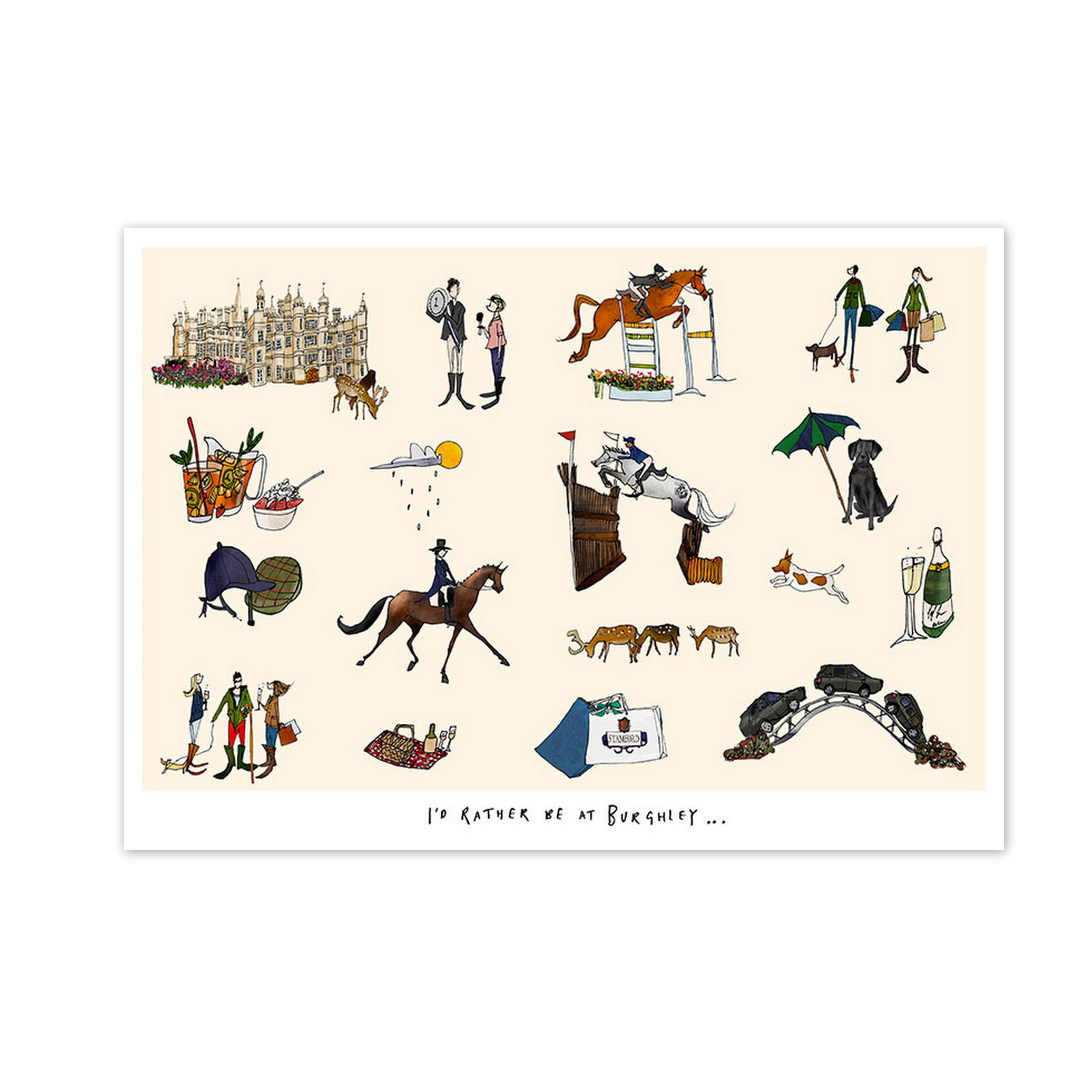 'I'd rather be at Burghley' Print, by Katie Cardew Illustrations