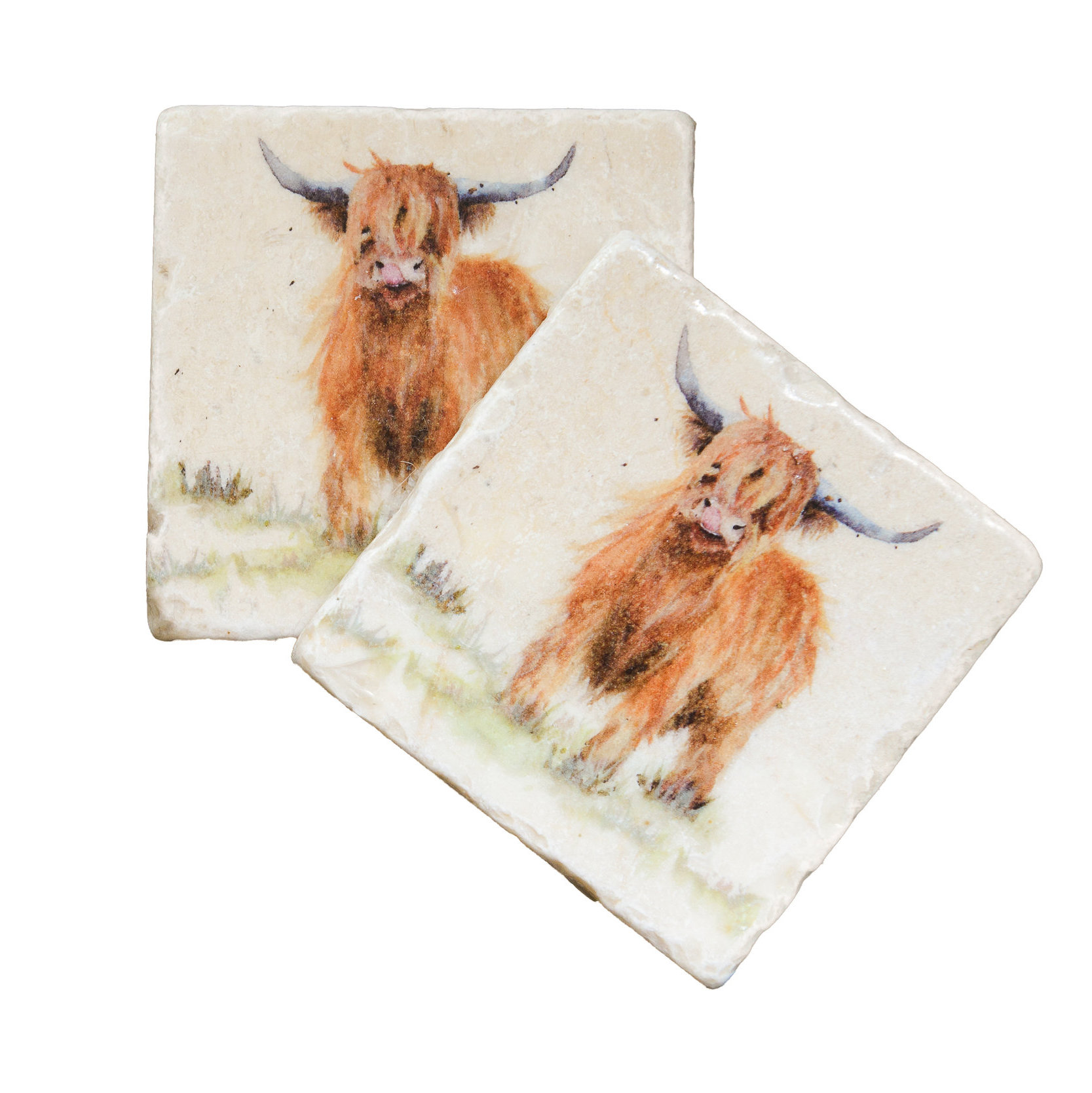 Highland Cow Coasters, by Kate of Kensington